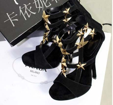 2013 Summer new arrive pumps famous GZ brand high heels sexy black genuine leather gold metal star open toe party sandals(China (Mainland))