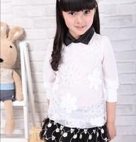 2013 female child white child long-sleeve cardigan ruffle children