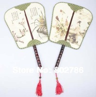 Free Shipping Chinese Traditional Silk Mandarin Hand Fans for Ladies Double Face Circular Fan