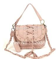 New style handmade PU woven bag chain bag tassel bag rivet bag women's handbag Free shipping