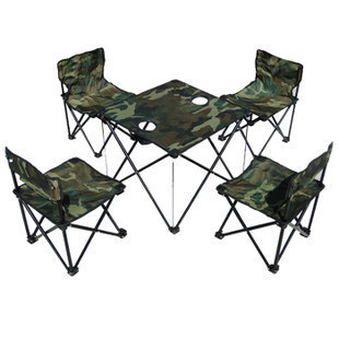 Camouflage five pieces set portable folding tables and chairs outdoor tables and chairs picnic table tea table bundle(China (Mainland))