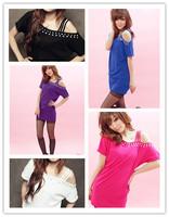2013 Women's Fashion  Free Shipping Hot Sale Rhinestone Embellished Off-shoulder T-shirt  MZ11120407