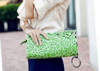 free shipping 2013 new Fashion Hot Sale Woman Handbag Shoulder Bag Punk  cutout envelope bag candy color Design Party Bag