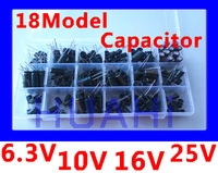 18Model 6.3V/10V/16V/25V / 470UF/1000UF/1500UF/1800UF/2200UF/3300UF Electrolytic Capacitor KIT And With a Free Storage Box