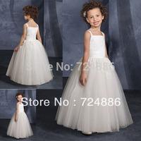 2013 Hot Sale  Sleeveless Appliques  White Or Ivory  long flower girl dresses for weddings 2013 G003