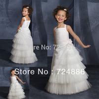 2013 Hot Sale  Sleeveless Crepe  White Or Ivory  long flower girl dresses vintage G002