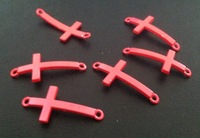 Dark Pink Cross Charm Jewelry Connectors 35*11mm Fit Jewelry Bracelet Making 100pcs/Lot Free Shipping