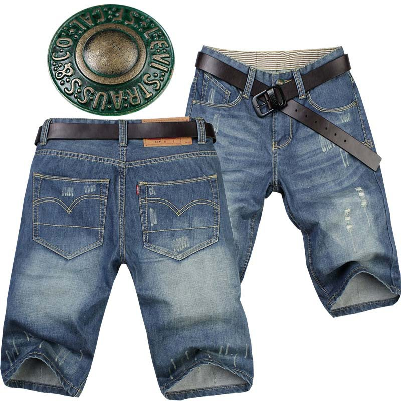 Free shipping 2013 Summer Water Wash Wearing Shorts Male Casual Jeans Shorts Men's Knee-length Pants Shorts Denim SIZE:28-36(China (Mainland))