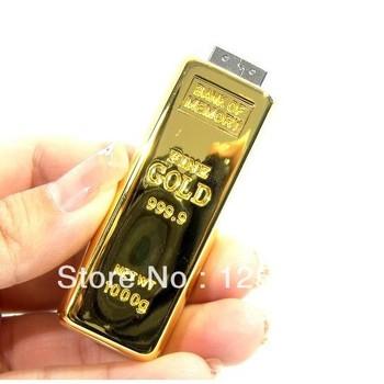 10pcs/lot free shipping Wholesale NEW Genuine GB 2GB 4GB 8GB 16GB USB 2.0 gold bar Memory Stick Flash Pen Drive