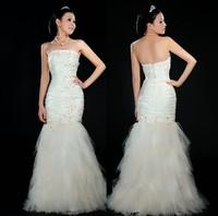 2012 short trailing the bride tube top slim marriage yarn sweet princess fish tail wedding dress