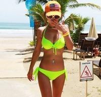 2013 sexy solid color steel bikini twinset beach swimwear neon swimwear swimsuit