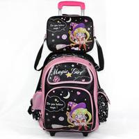 Primary school student trolley school bag rain cover large capacity - 16 wheel