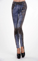 2015 new seamless slim printed Leopard skinny faux jeans women pencil pants leggings free size + free shipping