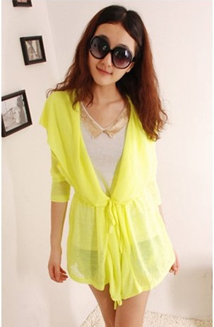 Free shipping 2013 fashion candly colour clothes sexy coat sunscreen jacket(China (Mainland))