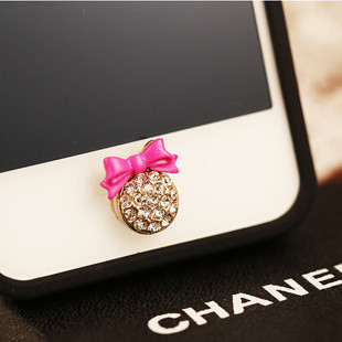 Free shipping New style Korea bowknot Home Button crown sticker diy mobile phone rhinestone decoration for IPONE 5 iPad iTouch(China (Mainland))