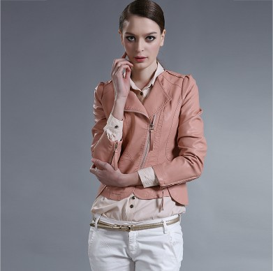 Free shipping Sell like hot cakes women slim leather jacket woman coat fashion color:black/pink size:S/M/L/XL(China (Mainland))