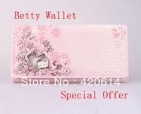 Free Shipping, 2013 New, High Quality Stock BETTY Brand Floral PU Long Fashion Women Wallet, Femail Designer Purses Lady handbag
