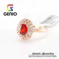 GN R167 Italina18K Gold Plated Four arrested burgundy Zircon Ring Made with Genuine SWA ELEMENTS  Austria Crystals