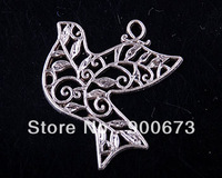 Free Shipping 30pcs/lot DIY Tibetan Silver beads dove pendant Charms ,bail pendant jewelry findings  S341