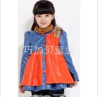 2013 female child spring child wadded jacket cotton-padded jacket leather princess coat outerwear velvet