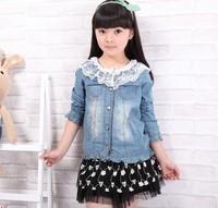 2013 spring female child denim shirt child lace turn-down collar denim outerwear