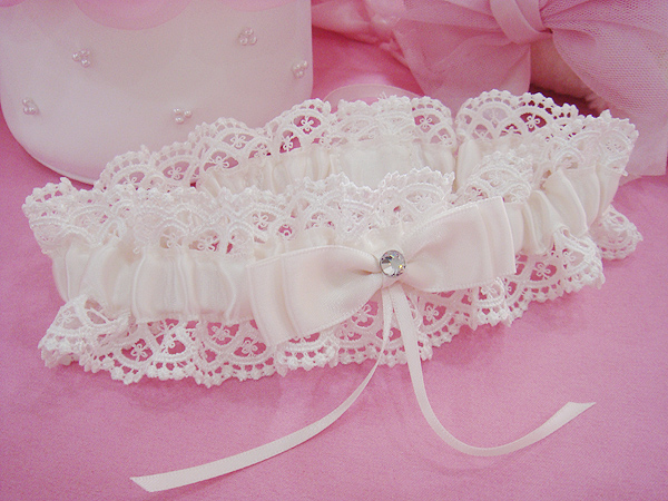 Topwedding Topwedding Organza Wedding Garter with Floral Ribbon Garter Bridal belt, White(China (Mainland))