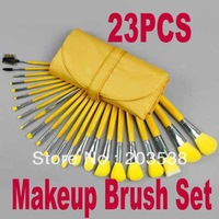 Free Shipping+Drop Shipping 2013 Newest 23 pcs Cosmetic Facial Make up Brush Kit Makeup Brushes Set with yellow Leather Case