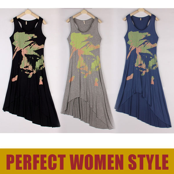 2013 Summer the Long Dresses Women's Wear Europe Posed Circle Vest Man Head Paint Printing Irregular Novelty Dress LF5880(China (Mainland))