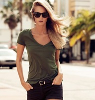 2013 Fashion Women army green v-neck slim t-shirt for freeshipping Ladies tshirt