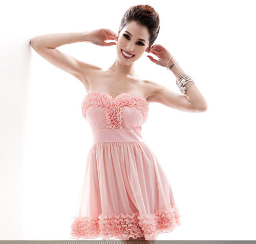 Date loading lotus leaf heart shape flower sweep wedding dress short design bridesmaid dress(China (Mainland))