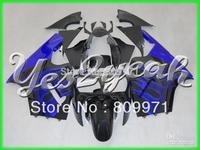 K14 Bue Flames Black Fairing Kit for KAWASAKI ZX12R 00-01 ZX-12R 2000-2001 ZX 12R 00 01 2000 2001