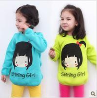 2013 spring female child autumn hot-selling pattern fleece thickening female child long sweatshirt s2102