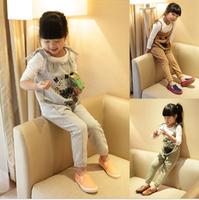 2013 fashion female child spring and summer female child casual bib pants harem pants k3006