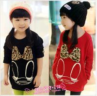 2013 spring female child three-dimensional leopard print slim hip long-sleeve cotton sweatshirt s2070
