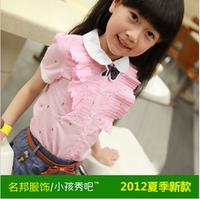 2013 female child new arrival summer short-sleeve fashion shirt
