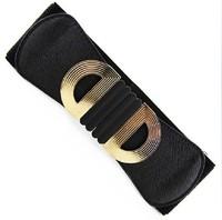 Free shipping!!! 2013 ladies'  double D letters buckle elastic belts fashion waist belt  for women (2colors)