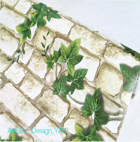 Pvc wallpaper rustic brick self-adhesive sticky notes p1406 parthenocissus(China (Mainland))