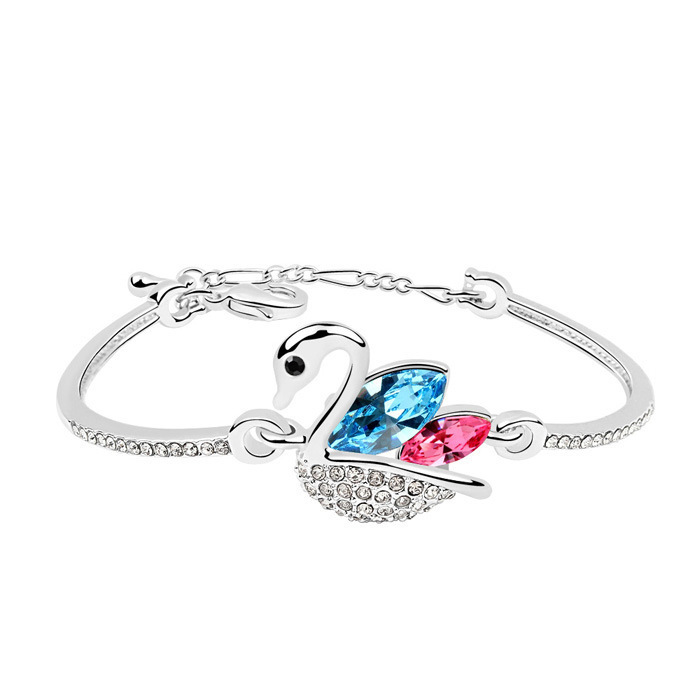 2013 new Austrian crystal swan bangle bracelet,silver bangle jewelry designer good quality metal bangle, free shipping(China (Mainland))