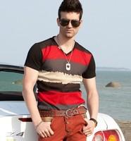 Fashion men's 95% cotton T-shirt short sleeve V neck men's casual shirt 2013 new hot sale 2colors free shipping