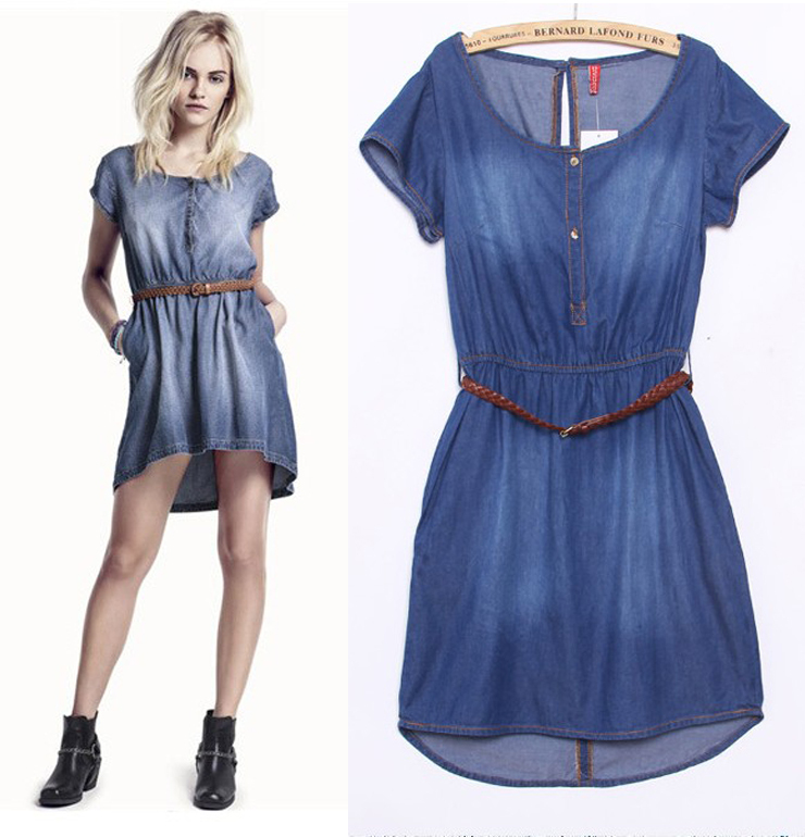 Free shipping New Arrival 2 color 3 size Woman Denim Dress+Belt Women's Dress fashion pure colour Fashion Slim Women Denim Dress(China (Mainland))