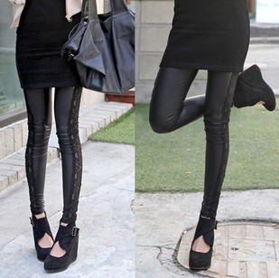 2013 skinny pants trousers lace patchwork elastic legging faux leather pants(China (Mainland))