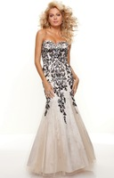 New Arrival 2013 Prom Dress Sweetheart Nude Tulle Mermaid Prom Dress With Black Appliques Beaded Free Shipping