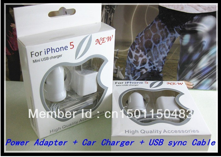 100pcs/lot For Iphone5 3 in 1 Charger Kits 8pin USB Cable + Wall Charger Adapter + Mini Car charger mix color with packing box(China (Mainland))