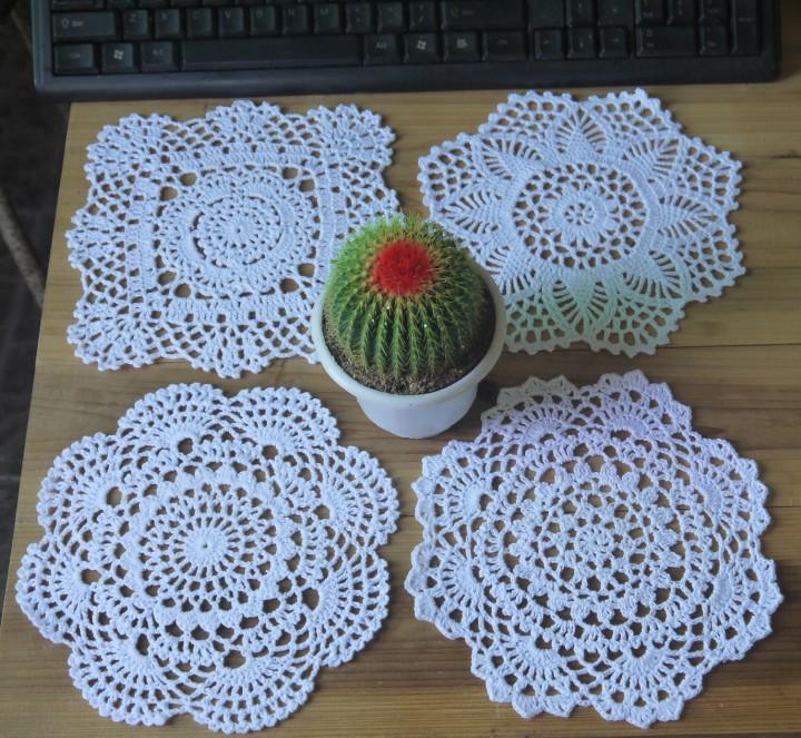 Free shipping crochet Doily table cover 20x20CM 4 Design Handmade Crocheted Flower cotton Doilies cup mat mug pad 24pcs/lot(China (Mainland))