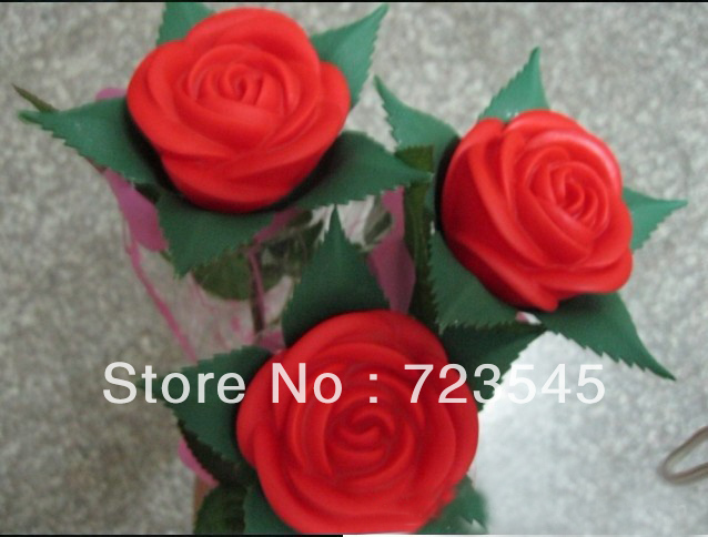Free shipping11pcs/lot Romantic Simulation Red Rose Flower with Leaves,LED night light.Valentine's Day Gift,Wedding Gift(China (Mainland))