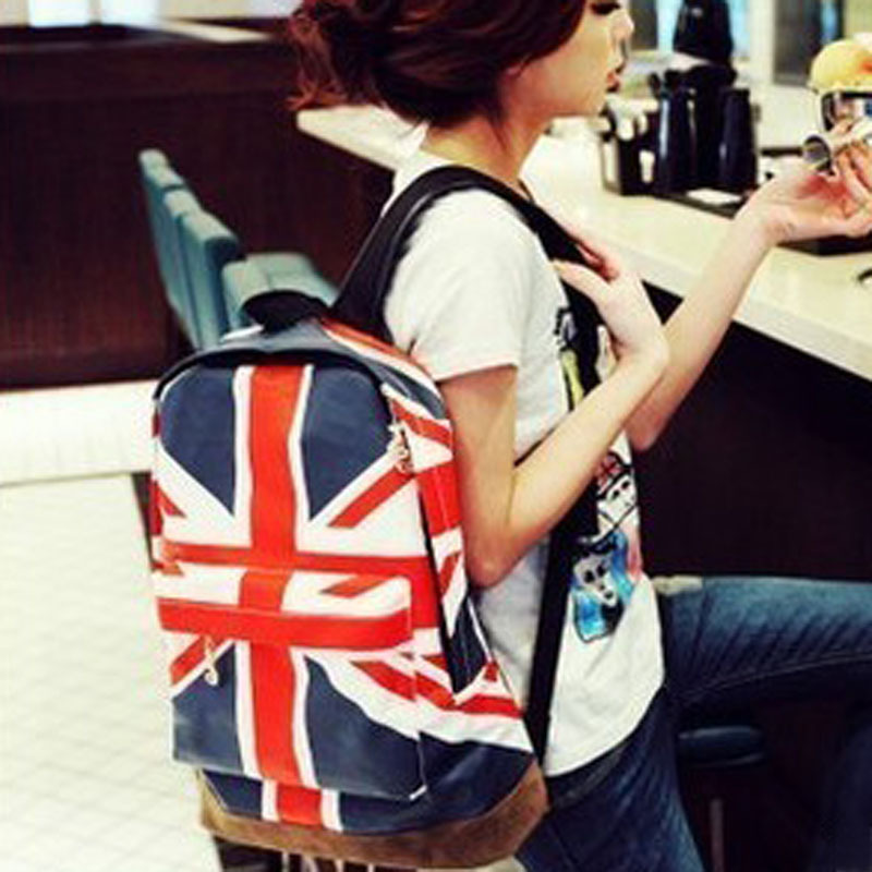 2013 bag m word flag american flag backpack school bag student bag FREE SHIPPING(China (Mainland))