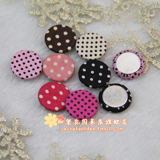 Customized wholesale Bag cotton cloth velcro button handmade diy diameter 15mm wrapped buckle polka dot 3(China (Mainland))