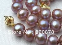 8-9mm Pink Purple AAA Akoya Cultured Pearl Necklace 18""