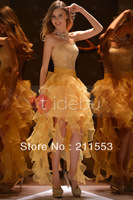 2013 Designer Beaded A-line High Low Gold Prom Dresses