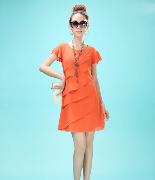 2013 female slim ruffle sleeve chiffon one-piece dress quality chiffon skirt summer dress plus size 2243 Deliver goods to come(China (Mainland))